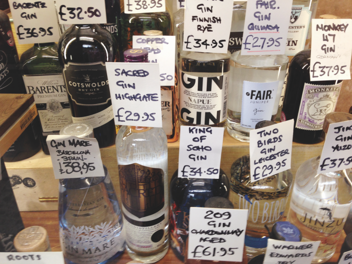 Gerry;s Wine & Spirits in London's West End carries more than 200 gin labels, indicative of Londoners fervor for gin and the spirits' second coming.