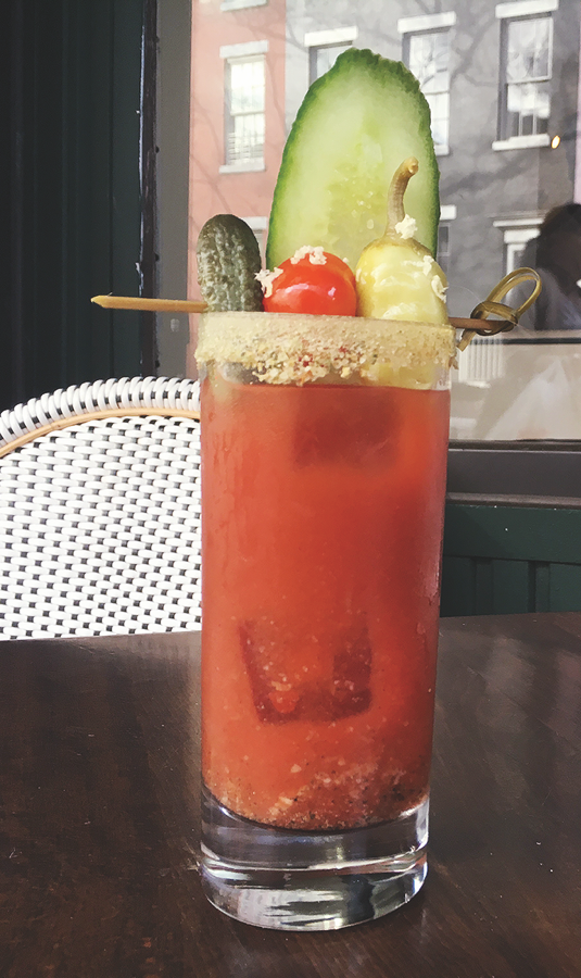 At New York City's Dante, the All Day Bloody Mary combines Aylesbury Duck vodka, Ricard Pastis de Marseille anise liqueur, Tabasco Original Red and Green Jalapeño sauces, and a house Bloody Mary mix.