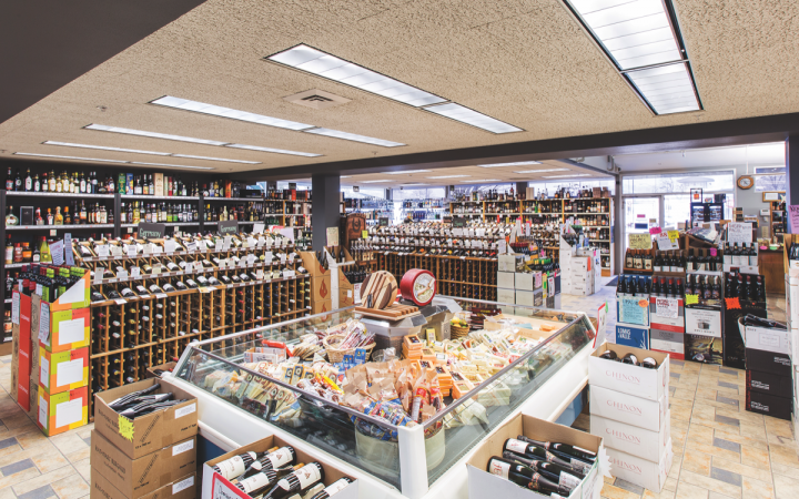 Steve's stores (University unit pictured) stock up to 7,500 beer, wine and spirits SKUs, and all offer other products like cheese. The outlets compete with big box retailers, c-stores and grocery chains.