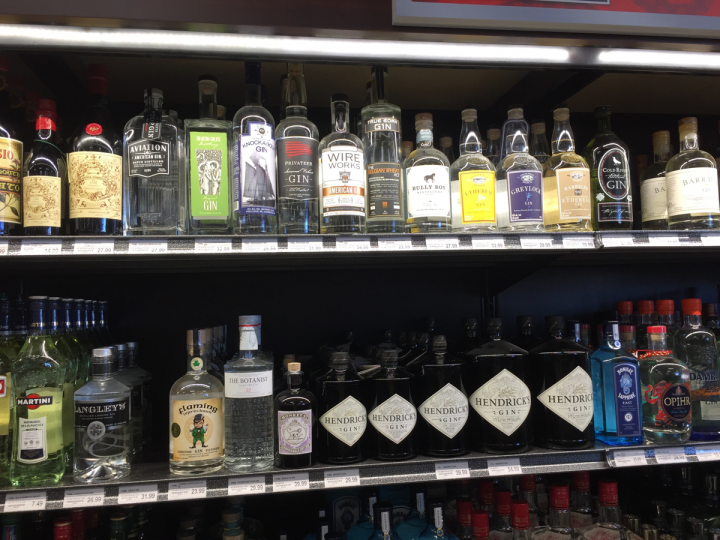 Smaller boutique gin labels are seeing great success at Boston-area retailer Kappy's Fine Wine & Spirits (gin shelves pictured), as they compete for shelf space against major brands like Hendrick's, Tanqueray and Bombay Sapphire.