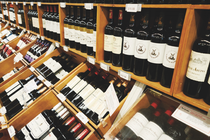 Sparrow carries around 2,300 wine labels at a time (shelves pictured), with the average price per bottle between the two stores ranging from $15 to $18 a 750-ml.