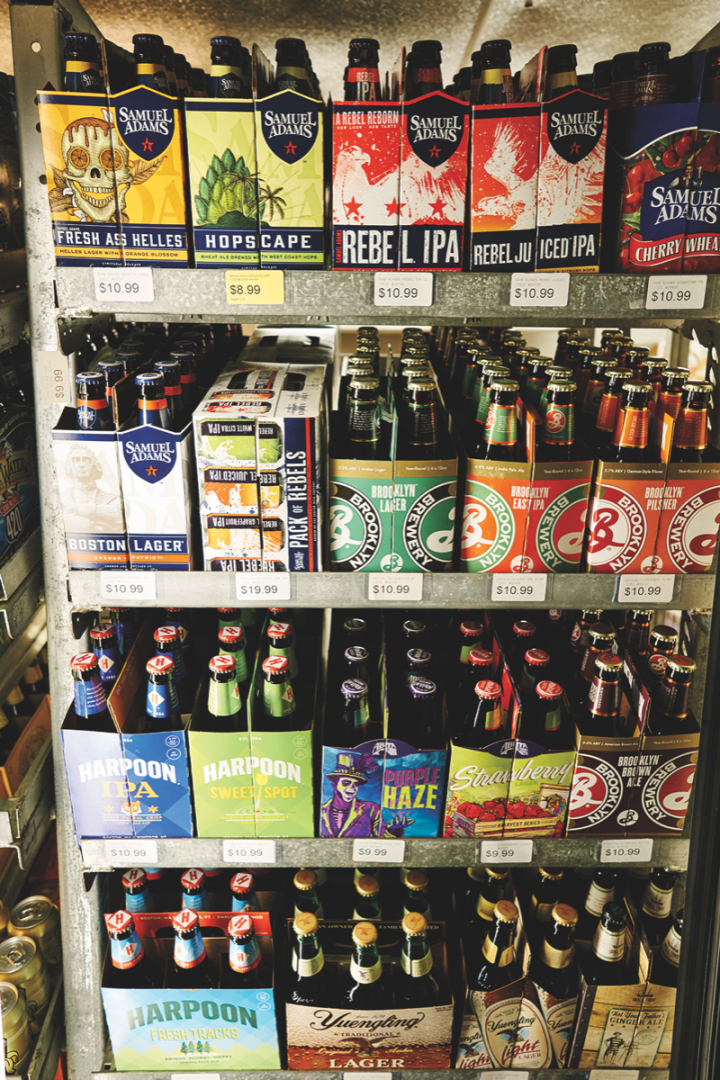 Sparrow offers more than 1,000 beer SKUs. Laz Luis focuses on building up the store's craft portfolio (craft brew offerings pictured), though top beer offerings include big brands like Bud Light and Modelo Especial.
