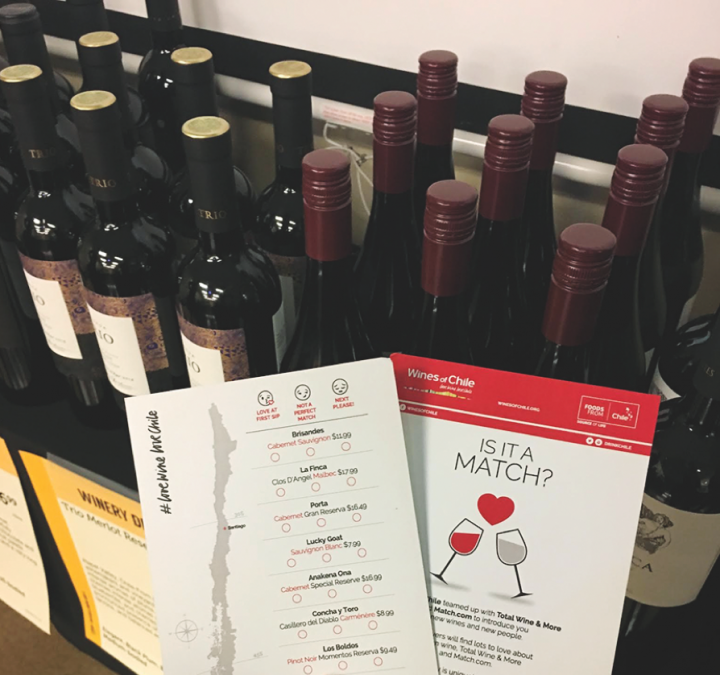 Match.com users tasted wine courtesy of Wines of Chile (comment cards pictured) at speed dating events held at Total Wine & More locations nationwide.
