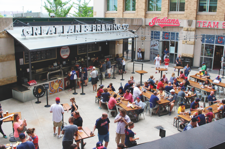The Great Lakes Brewing Co. beer garden (pictured) opened at Cleveland's Progressive Field last year as part of the stadium's efforts to offer more craft brews.