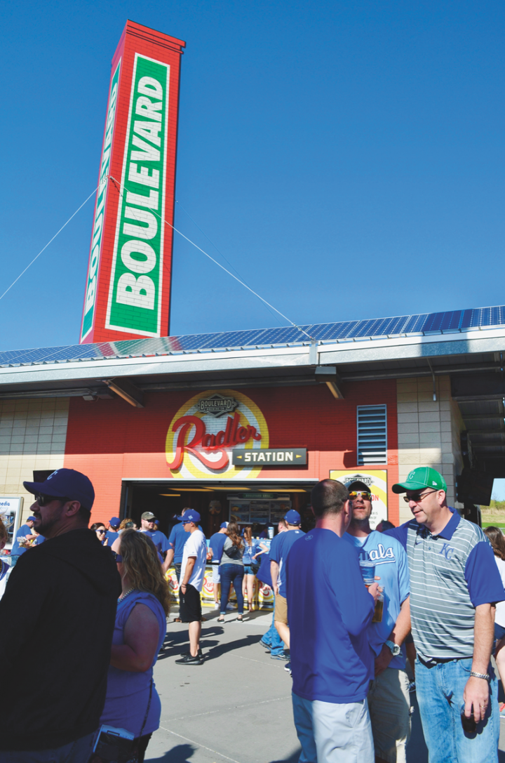 As of the official craft beer of the Kansas City Royals, Boulevard Brewing occupies several venues throughout Kauffman Stadium (the brewery's Radler Station at Kauffman Stadium pictured).