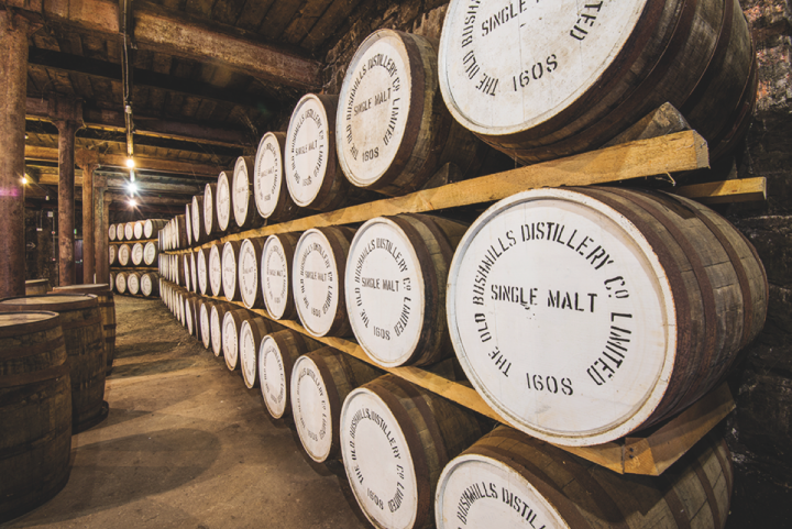 Bushmills, the No.-2 Irish whiskey brand, grew considerably last year amidst the Irish whiskey boom (Bushmills barrels above).