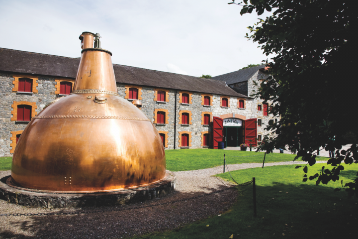Though many new Irish whiskey brands are emerging, Jameson remains the clear category leader. The brand currently controls 82 percent of sales in the United States (Jameson distillery pictured).