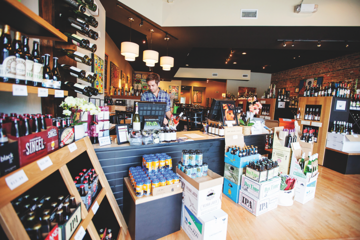 Barrel Thief Wine Shop (interior pictured) in Richmond, Virginia, stocks 400 small-production wines, 30 of which are made in Virginia. Twelve by-the-glass wines are also offered.