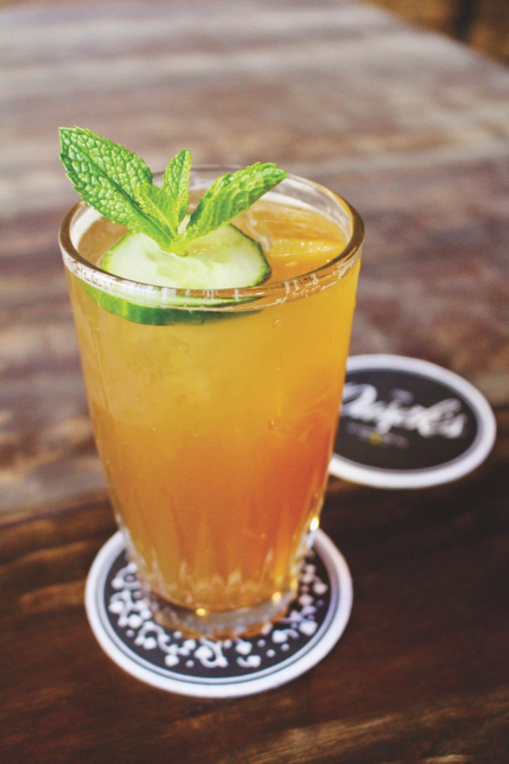 Bartenders have found creative ways to use beer and cider in cocktails. The Pimm's Cup #18 at Dusek's Board & Beer features a cucumber syrup made with Allagash White beer.
