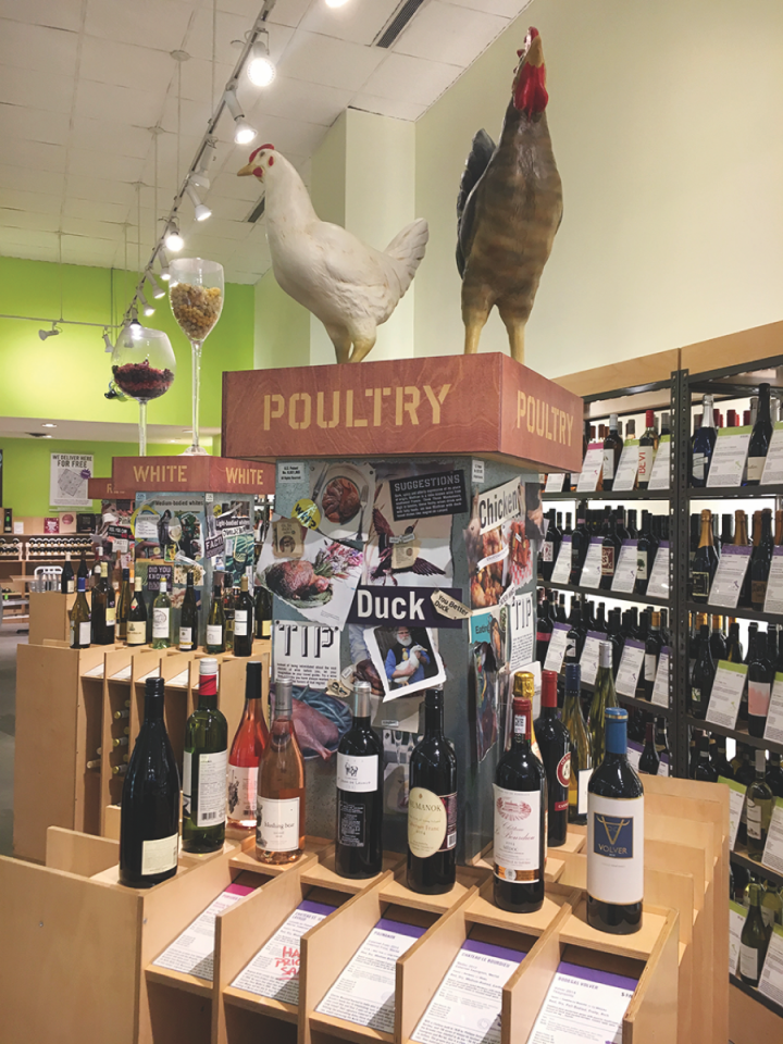 On Bottlerocket's Poultry island (pictured), a frequently updated selection of wine pairings is offered for dishes featuring duck, chicken, turkey or game birds.