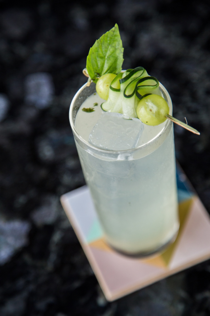 The Skylark's Spring Fling features cucumber vodka, St-Germain, simple syrup, fresh lemon juice, and muddled fresh green grapes and basil leaves.