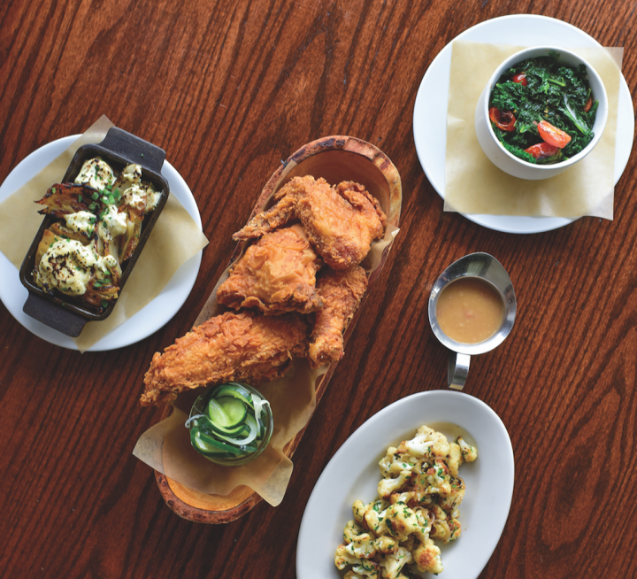Rye in Lewood, Kansas, matches easy-going bourbons like Buffalo Trace or Breckenridge with the hearty fried chicken (pictured), which stands up to the strong spirit of whiskey.
