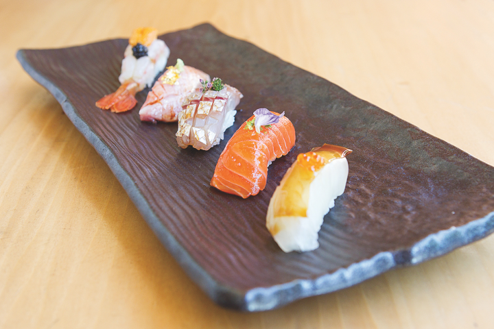 Delicate Japanese whiskies go well with seafood dishes like sushi (Roka Akor's Nigri Sampler pictured above).