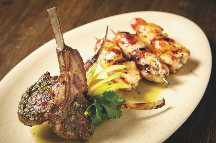 Scotch and Bourbon pair nicely with grilled meats (Ousia meat platter pictured).