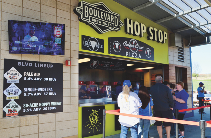 Earlier this year, Boulevard (the brewery's Hop Stop at Kauffman Stadium pictured) was named the official craft beer of the Kansas City Royals.