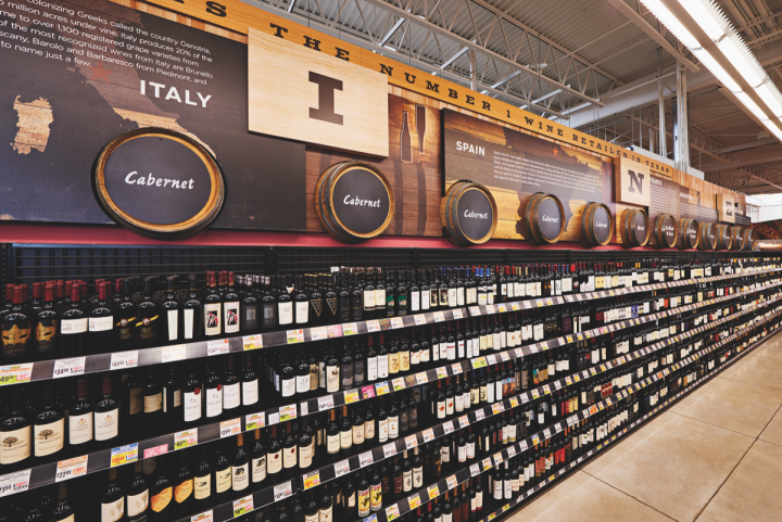 Cabernet Sauvignon leads wine sales at H-E-B (Cabernet shelves pictured), though Chardonnay follows up as a close second.
