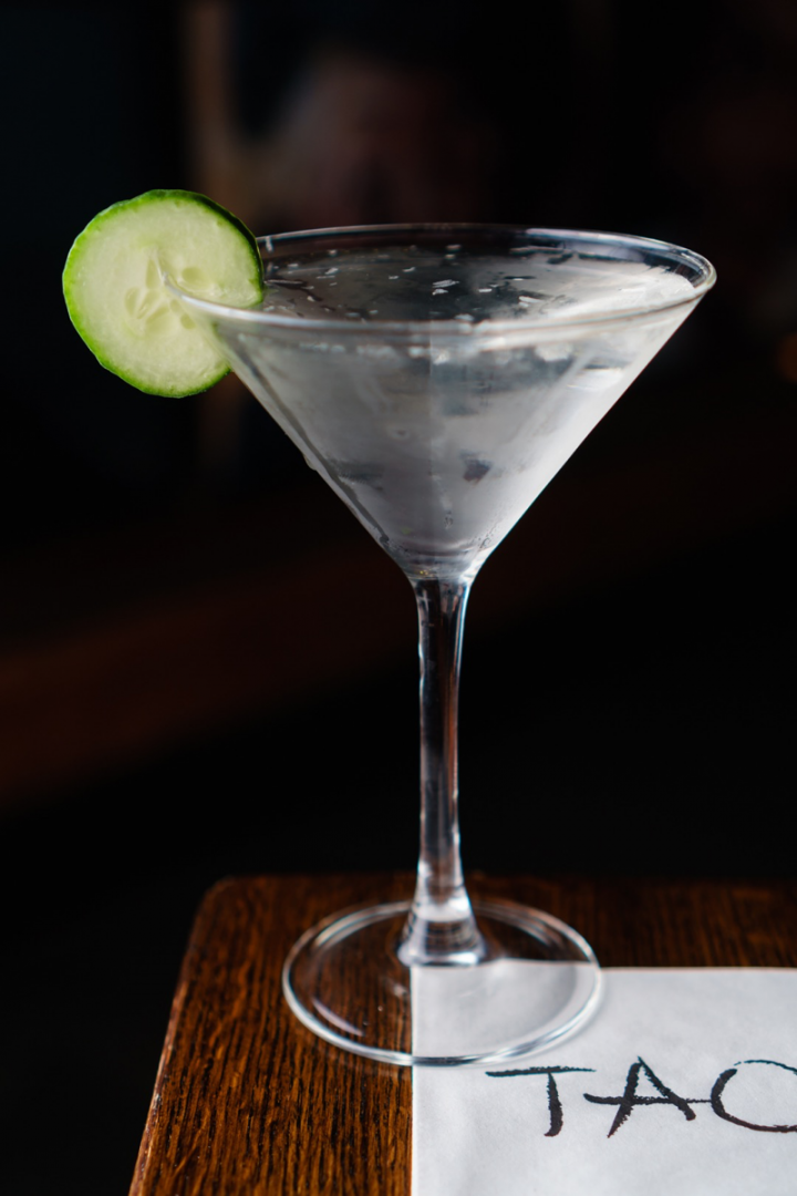 The Saketine (pictured) at Tao Uptown in New York City mixes Ty Ku Cucumber, Ketel One vodka and Cointreau orange liqueur.