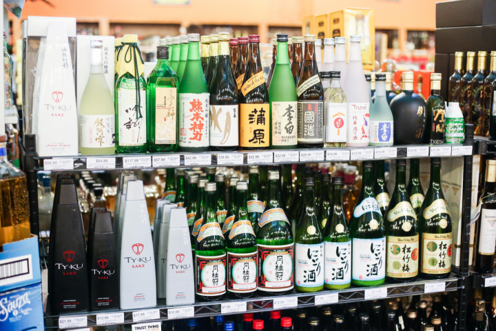 At Austin, Texas–based chain Twin Liquors (store's sake selection pictured), premium sakes like Ty Ku and Joto are getting more shelf space.