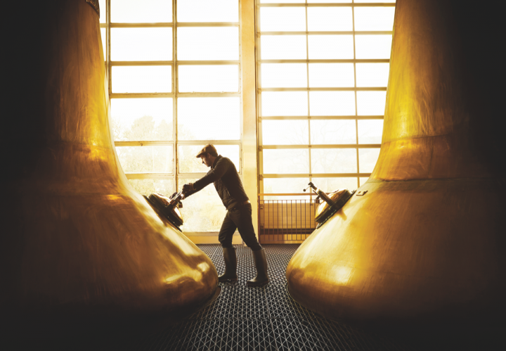 Major Scotch brands are increasingly focused on younger audiences. Bacardi-owned Dewar's (worker at company's Aberfeldy distillery pictured), for example, sponsored multiple Scotch-centric booths at the Pitchfork Music Festival in Chicago.