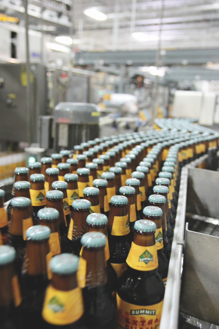 The brewery produced 125,000 31-gallon barrels of beer in 2016 (bottling line pictured).