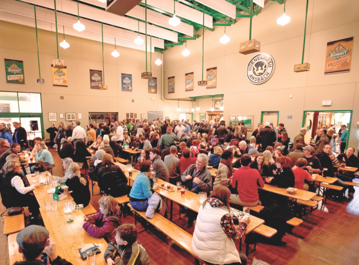 Located in St. Paul, Minnesota, Summit's brewery features a beer hall (pictured).