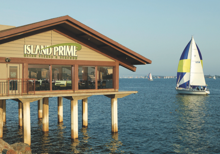 The Harbor Island–based Island Prime (exterior pictured) is Cohn's steak- and seafood-focused fine dining restaurant. The venue is attached to C Level, a more casual bar space.