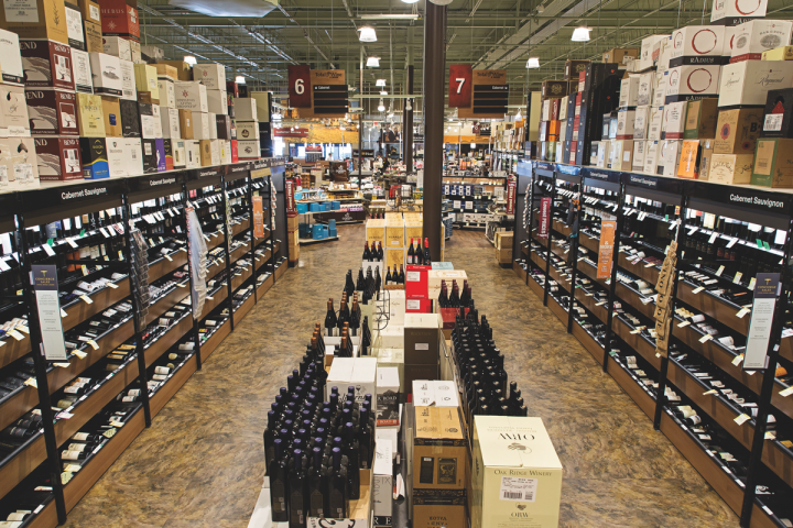 Wine is paramount at all Total Wine stores (McLean store wine aisle above), accounting for half of the company's total sales.