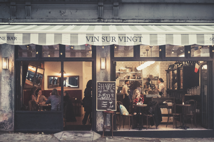At each of its five locations, Vin Sur Vingt (Upper West Side exterior pictured) offers an exclusively French wine list with around 50 by-the-glass options. Though the wine bar is currently limited to Manhattan, its owners have lofty expansion plans.