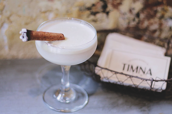 The sessionable Tahini Martini at New York City's Timna blends Dolin Dry vermouth, raw tahini, lime juice, house-made anise syrup and a date honey syrup imported from Lebanon.