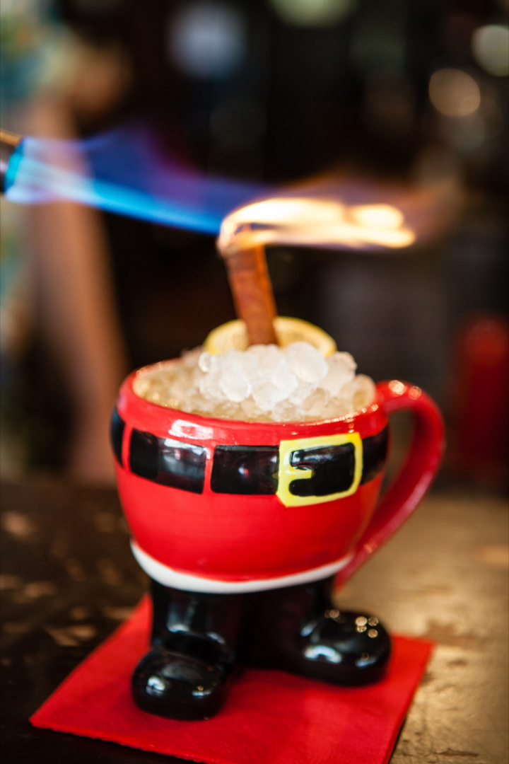 The Frosty Bottoms blends Earl Grey vodka, Licor 43, Jamaican rum, cinnamon, fresh orange and lemon.