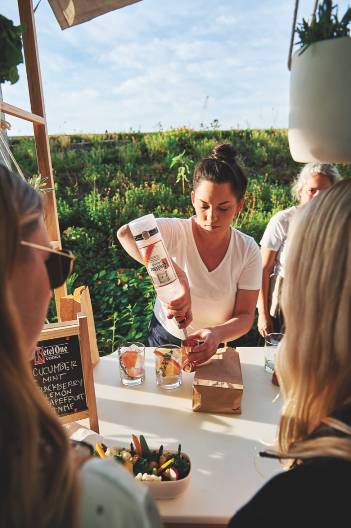 Ketel One promotes elevated experiences and social media interactions as marketing tactics.