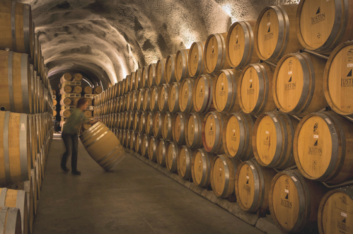 Justin Vineyards and Winery (caves pictured) produces Bordeaux- and Rhone-style red blends in California's Paso Robles AVA.