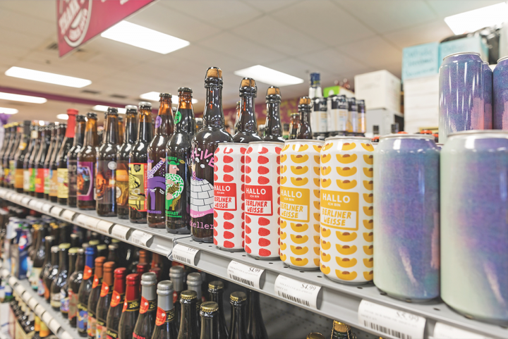 Craft beer receives the majority of shelf space at Wine World, with canned goses and Berliner weisses performing particularly well.
