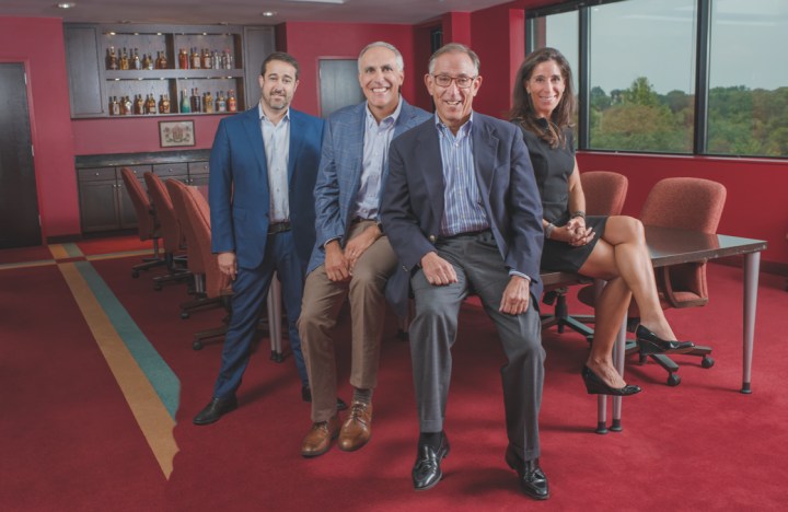 Heaven Hill Brands is a family affair, led by (from left) western division sales manager and director of corporate analysis Andy Shapira, COO Allan Latts, president Max Shapira, and vice president of marketing Kate Latts.