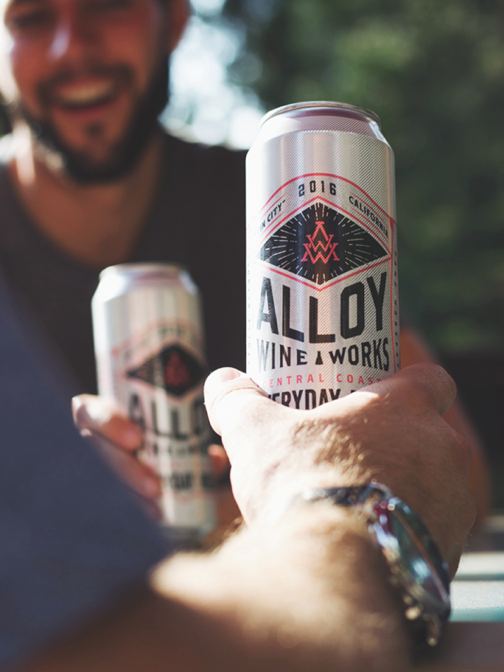 Some canned wine producers, like California's Alloy Wine Works (Everyday Rosé pictured), have started to produce such unique offerings as dry-hopped wines.