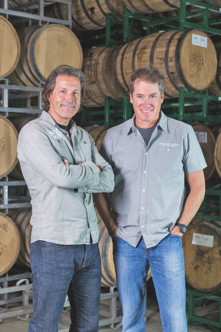 David Walker (left) partnered with his brother-in-law Adam Firestone to open the brewery in 1996. Today, Walker manages brand building, while Firestone focuses on expansion efforts.