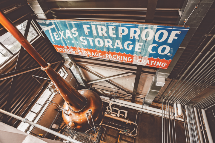 Balcones' new distillery features a decommissioned mash tun from Scotland's Speyburn distillery, two sets of 4-story copper Forsyths stills (pictured), and larger fermentation tanks.