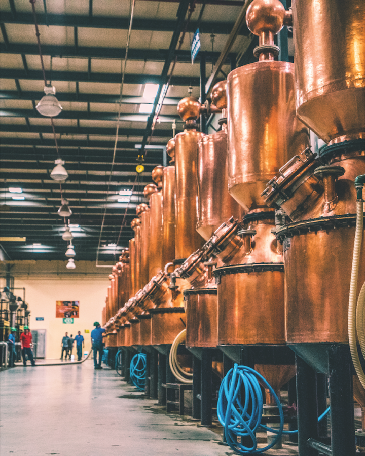 Beyond its flagship 2.5 million-case Tequila brand, the Patrón Spirits Co. (Tequila stills pictured) lineup includes Patrón Citrónge orange liqueur, Patrón XO Café, Pyrat rum, and Ultimat vodka. Bacardi's acquisition includes the entirety of the company's spirits portfolio.