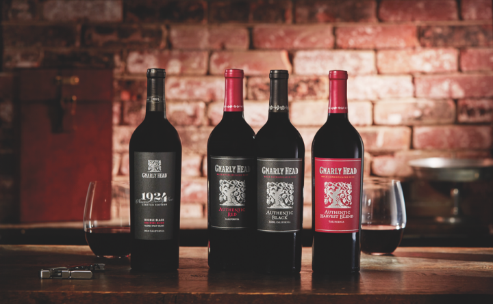 DFV's Gnarly Head red blend range includes 1924 Double Black, Authentic Red Blend, Authentic Black, and Harvest Red wines.