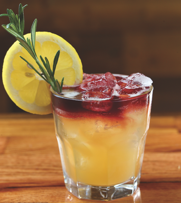 The Rosemary's Baby at Reserve 101 mixes Old Forester 1870 Original Batch Bourbon, house-made honey apricot cordial, lemon juice, and rosemary.