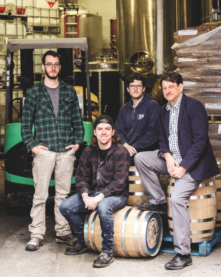 Based in Chicago, F.E.W. Spirits (Sam Bielawski, Skyler Retzlaff, Steven Kaplan, and founder Paul Hletko pictured) has garnered a national audience.