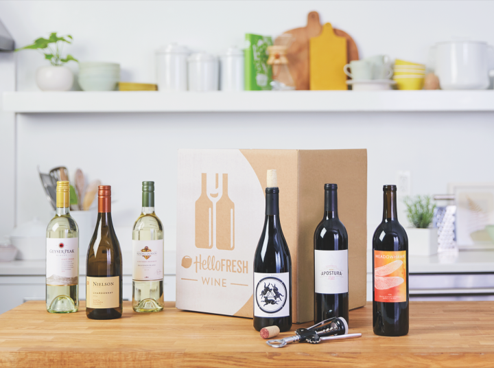 Major companies such as HelloFresh (wine subscription box above), Blue Apron, and Martha Stewart now offer wine delivery boxes. HelloFresh's monthly package includes six 750-ml. bottles and can be paired with the company's weekly meals or enjoyed on its own.