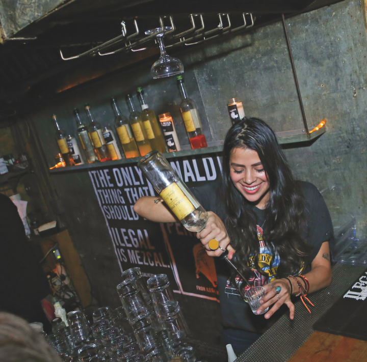 Producers and bartenders alike have lauded mezcal's mixology potential, viewing cocktails as key for consumer education (Ilegal mezcal pop-up bar pictured).