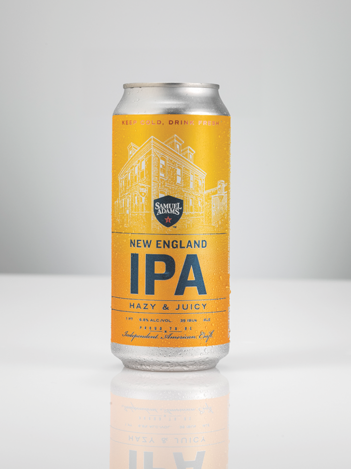 The 16-ounce can is the preferred packaging for higher-abv brews (Sam Adams New England IPA, at 6.8% abv, pictured).