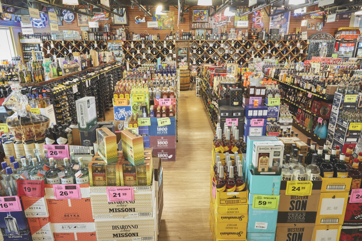 Craft and imported beers (shelves pictured) far outperform mainstream domestic brands at Jensen's.