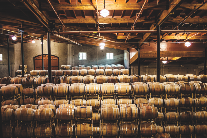 Trinchero's Terra d'Oro Winery (barrel room pictured) is located in Amador County, California. The brand specializes in Italian varietals like Pinot Grigio, Barbera, and Moscato, and produces a handful of single-vineyard Zinfandel expressions as well.