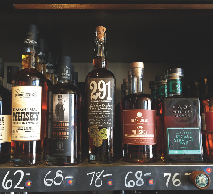 Colorado spirits are rising in prominence, both on- and off-premise. Bottle Shop 33 in Denver (shelf pictured) stocks over 100 Colorado spirits brands, and at least one of the top five offerings in every spirits category is from the state.
