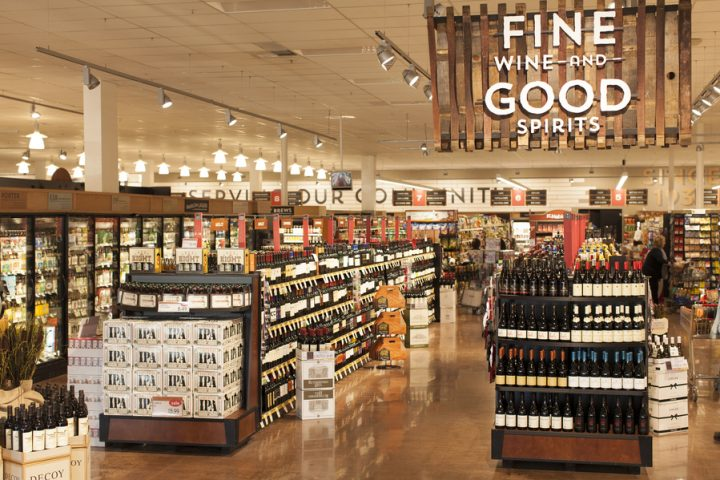 Individual beverage alcohol departments at Raley's stores (Granite Bay, California unit pictured) each have their own footprints.
