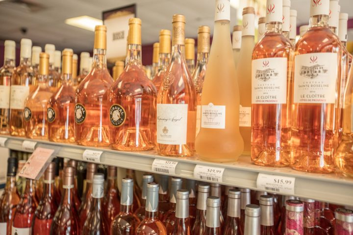 Wine comprises nearly half of all sales at Wine World, with Provençal rosés (shelf pictured) among the bestsellers.