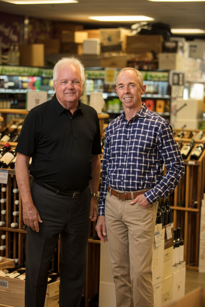 Wine World founder Chan Cox (right) and his business partner, Robert Montgomery (left), have created a growing empire of on- and off-premise venues in the Florida Panhandle.
